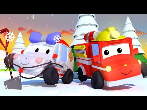 Christmas with the Trucks ! Tiny Town: Street Vehicles Ambulance Police Car Fire Truck