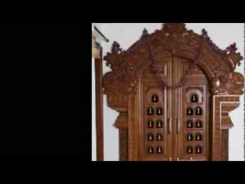 Pooja carved wooden door designs youtube for Traditional wooden door design ideas