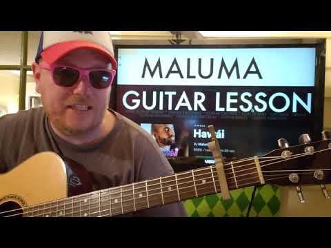 How To Play Hawái Maluma // guitar lesson beginner tutorial easy chords