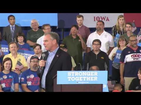 Democratic VP candidate Kaine on his Iowa ties