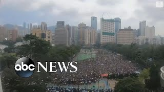 Timelapse footage shows mass protests in Hong Kong