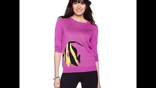 twiggy LONDON Crewneck Lightweight Novelty Sweater