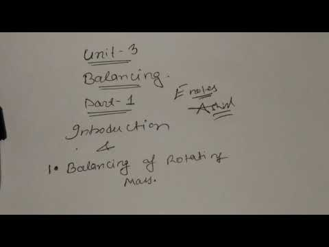 Introduction and balancing of rotating masses,part-1,unit-3,DOM