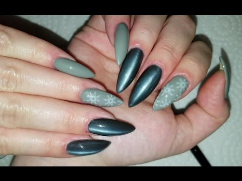 Grey Cat Eye For Winter Pointy Almond Shaped Acrylic Nails