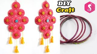 DIY Easy Wall Hanging from OLD BANGLES for ROOM DECOR 2018 | Easy DIY Craft