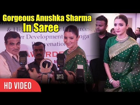 Gorgeous Anushka Sharma In Green Saree  Priyadarshini Academy Global Awards 2018