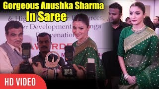 Gorgeous Anushka Sharma In Green Saree | Priyadarshini Academy Global Awards 2018