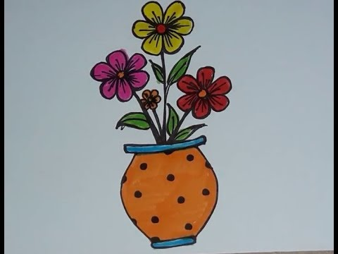 How To Draw A Flower Pot Easy Easy Flower Pot Drawing For Kids Youtube