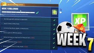 Fortnite ALL WEEK 7 CHALLENGES GUIDE - Emplacements des emplacements de football, carte au trésor (peau de blockbuster)