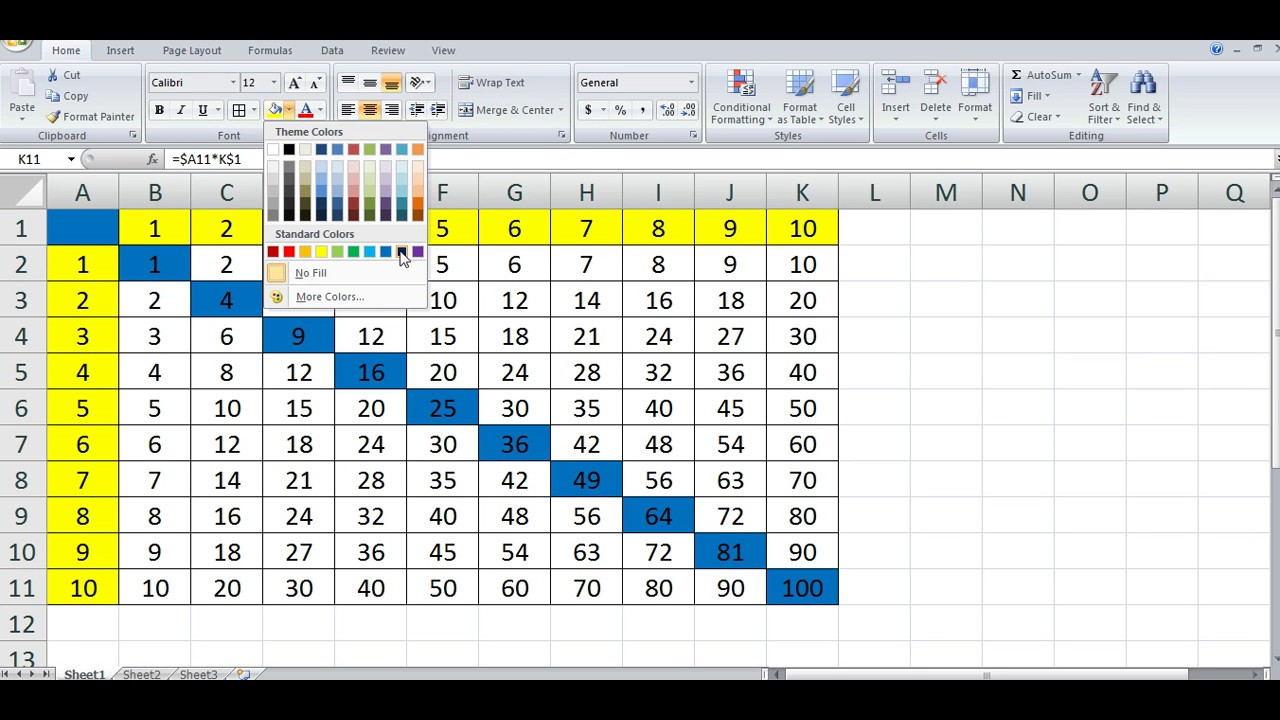 How To Quickly Create Multiplication Table In Ms Excel Youtube