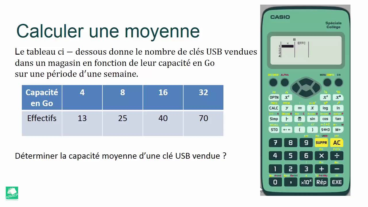 calculer la moyenne d 39 une s rie statistique avec la casio coll ge youtube. Black Bedroom Furniture Sets. Home Design Ideas