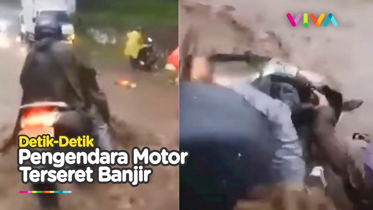 Download Makanya Jangan Nekat Terobos Banjir, NMax Terseret Arus Deras di Lembang