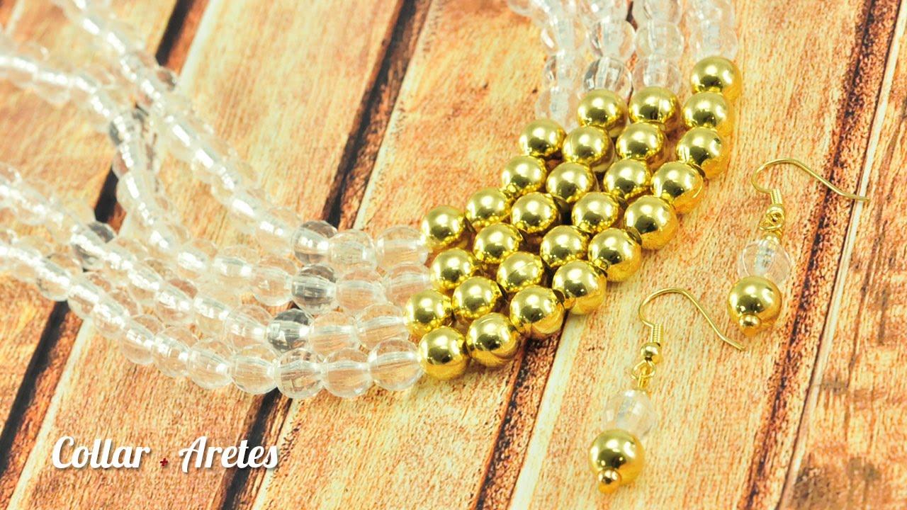 4d33cc5bfff7 Como hacer un collar cristal dorado Kit 23322 - YouTube