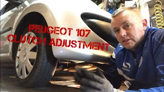 PEUGEOT 107 CLUTCH CABLE ADJUSTMENT, same as Toyota AYGO Citroen C1