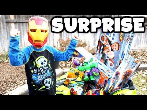 SURPRISE TOYS Power Wheels Video + Iron Man, Nerf Guns, Blind Boxes, Hulk, Spider-Man Surprise Toys