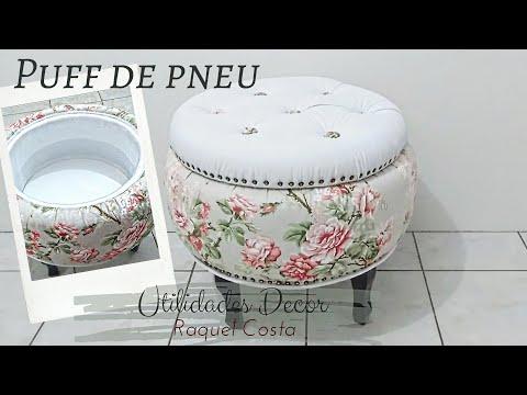 DIY- PUFF DE PNEU Com Botonê No Acento#RaquelCostapuffdepneu