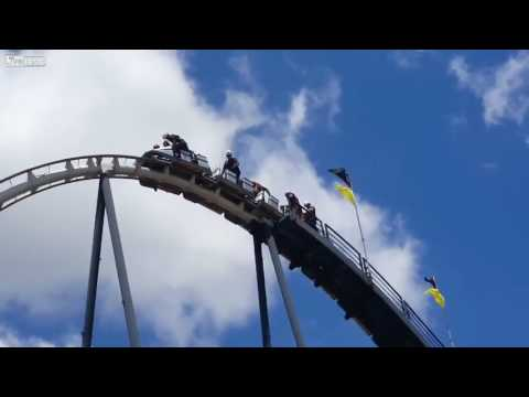 Firefighters rescue people trapped on the Silver Bullet roller coaster