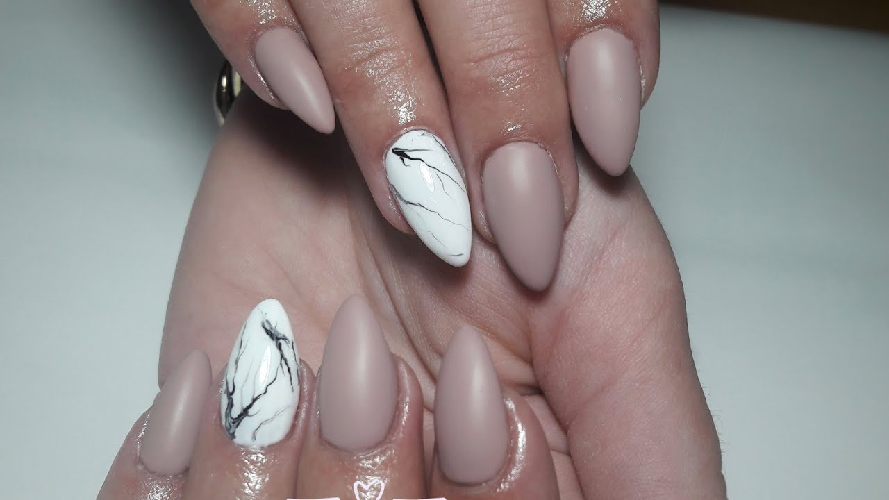 How to| Matte and marble nail art| From Ballerina to Almond shaped ...