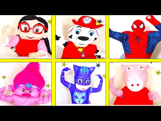 Superhero Squares In Real Life with PJ Masks Trolls Poppy, Paw Patrol, Spiderman and Peppa Pig,
