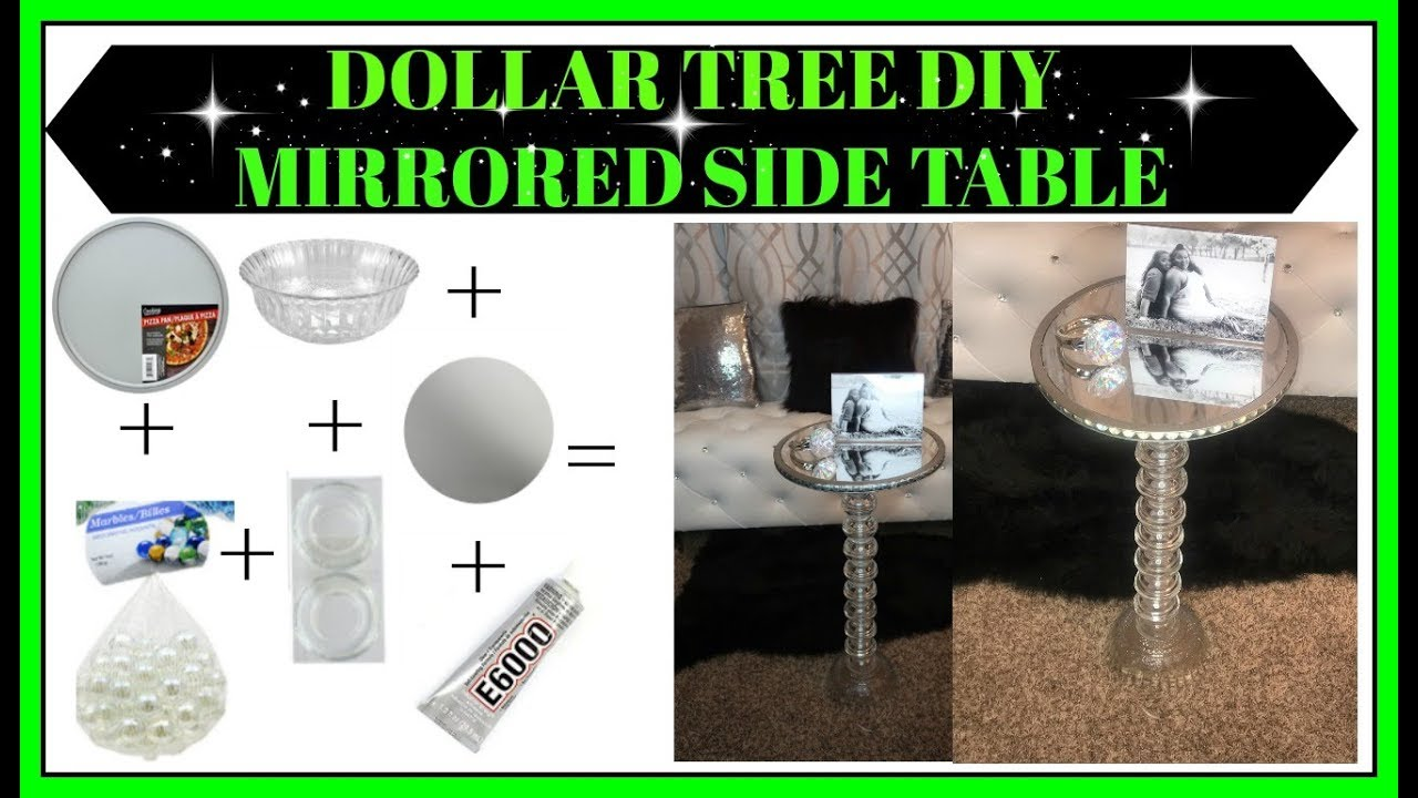 Dollar Tree Diy Mirrored Side Table For Only 14 Youtube