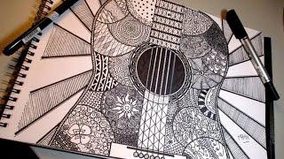 Drawing guitar mandala///MB91 Drawing