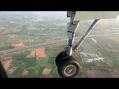 Amazing aerial view of Flight landing at Shamshabad international airport, Hyderabad