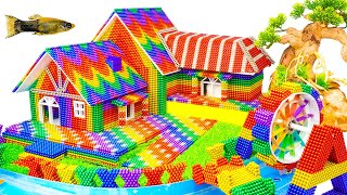 DIY - Build Villa House, Waterwheel And Fish Tank From Magnetic Balls (Satisfying) - Magnet Balls