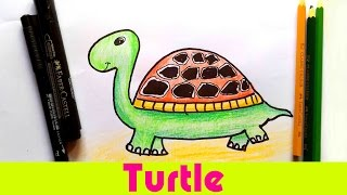 How To Draw a Turtle! Easy Cartoon Turtle Animal tutorial - For Kids