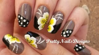 Yellow&White One Stroke Flowers on Brown Polish Nail Art