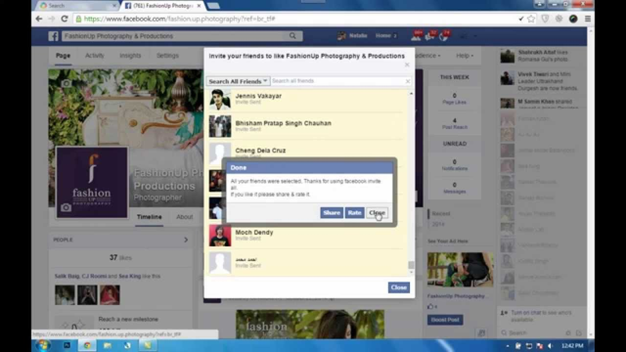 Invite All Friends on Fb Page at Once at Once