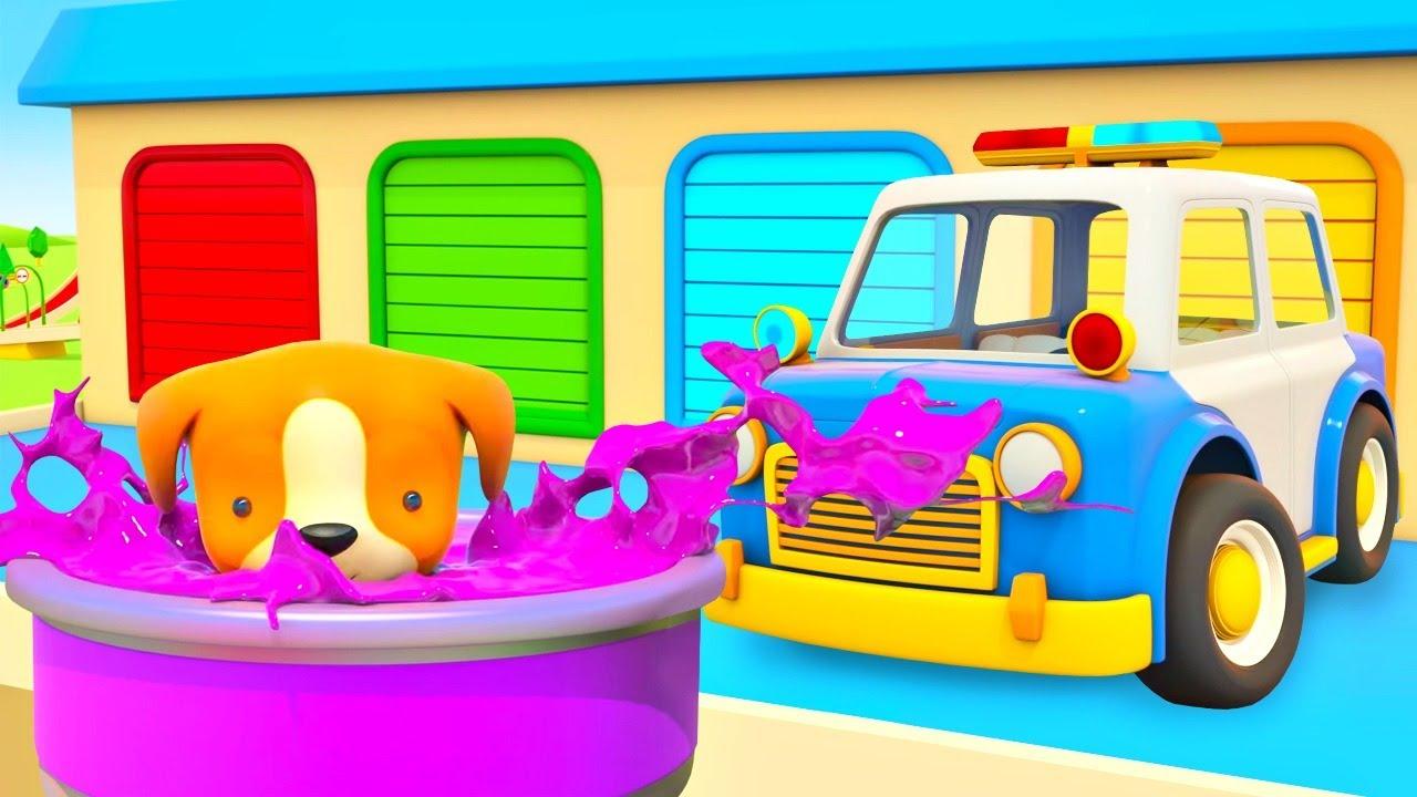 O cachorro está perdido! Veículos  de serviço. Desenhos animados de carros para crianças.