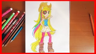 How to draw Applejack, My Little Pony Equestria Girls Rainbow Rocks