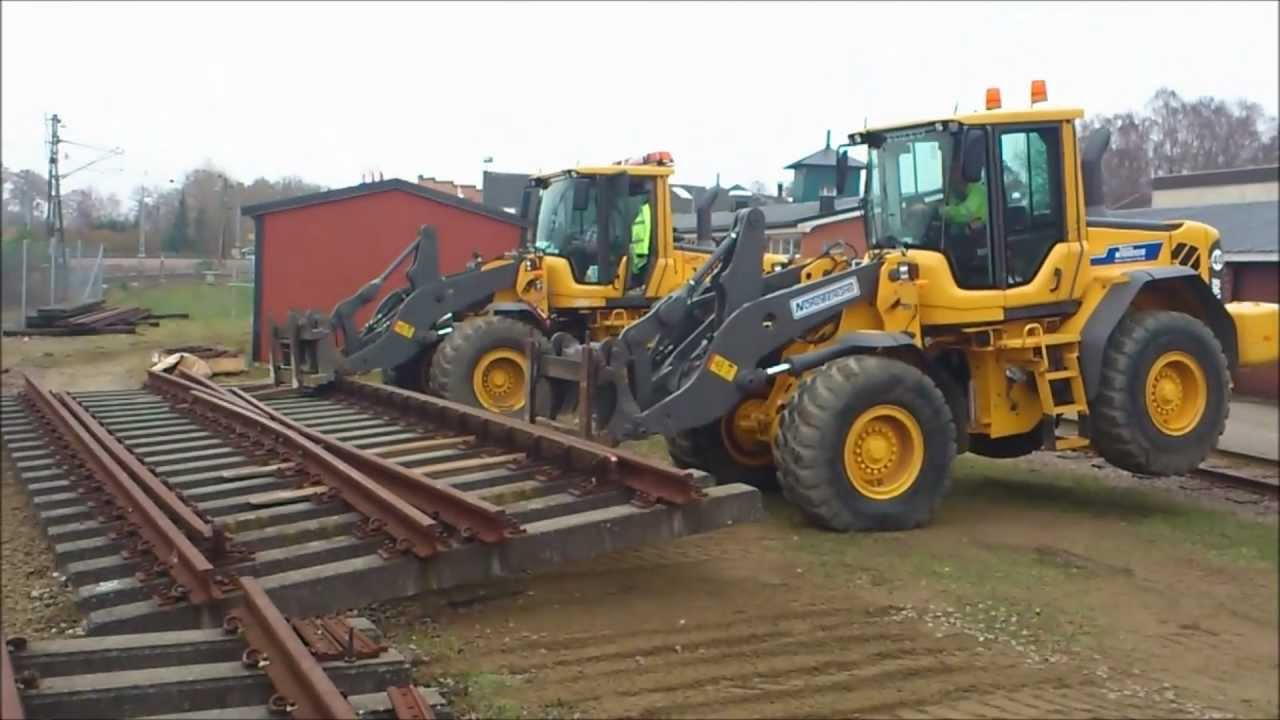 Volvo L90 S Moving A Railroad Switch Plus Bobcat Youtube