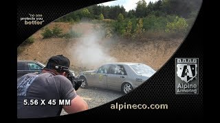 Armored Cars Mercedes Benz Bulletproof Glass shot at with Automatic M4