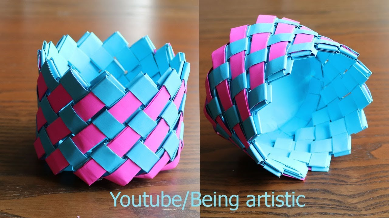 Easy Way To Make Paper Basket Paper Craft Home Decor Youtube