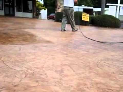 Clear sealing stamped concrete driveway youtube for Removing concrete driveway