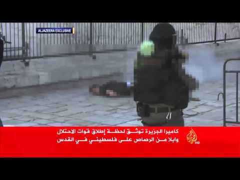 Video from Al Jazeera of Damascus Gate assailant being shot dead in Jerusalem's Old City