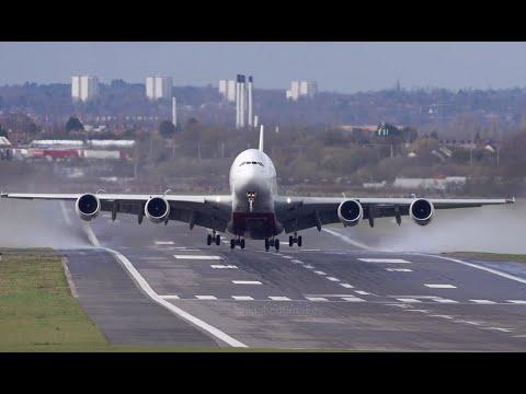 Emirates A380 Airbus,  arrival and departure Birmingham Airport.