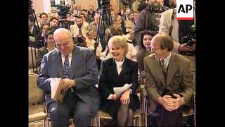 Aptn file - march 24, 1996oggersheim/rhineland palatinate, germany1. hannalore kohl and former chancellor helmut arriving at regional election polling...