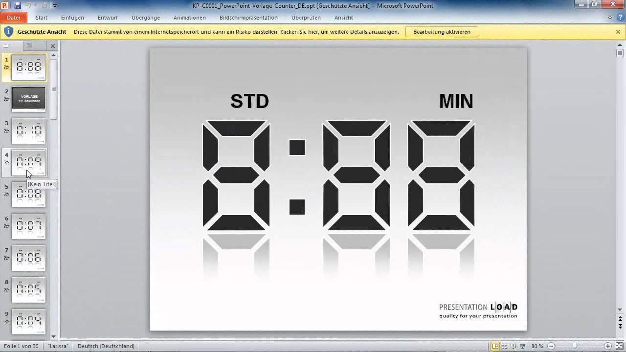 PowerPoint 2010 - Einen digitalen Countdown erstellen - YouTube