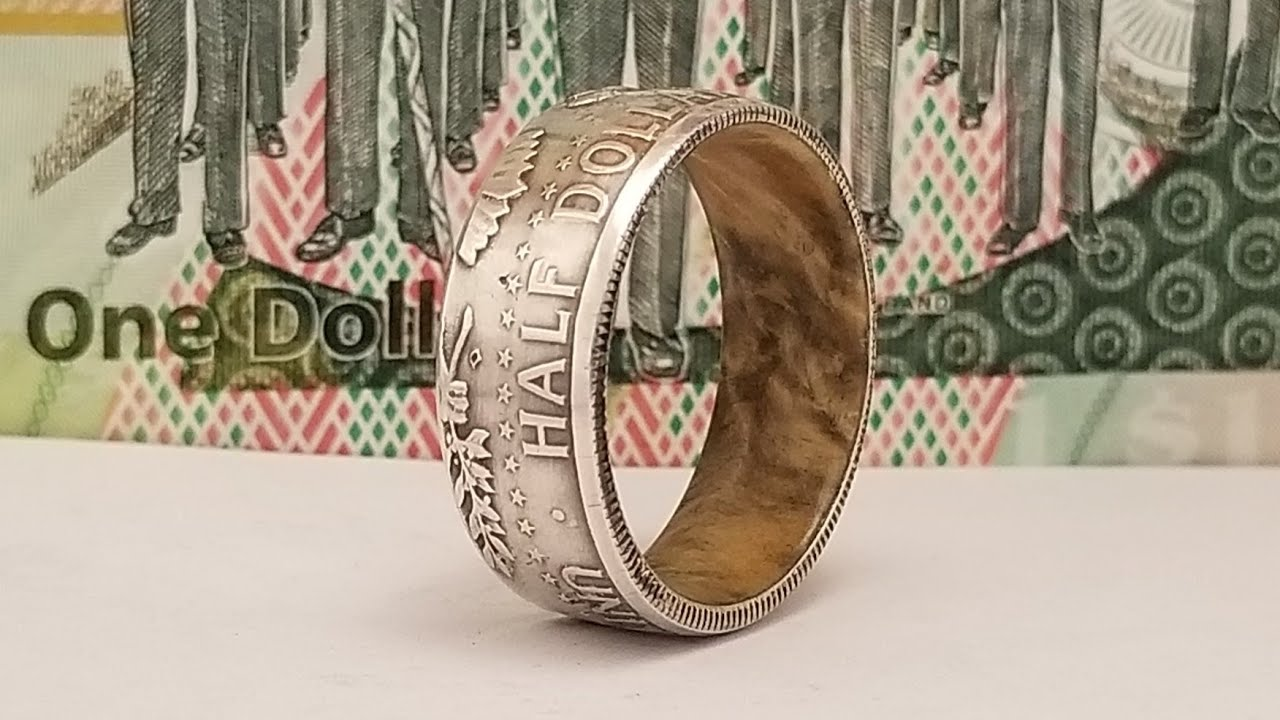 Making a Silver Half Dollar Coin Ring with a Wood Liner