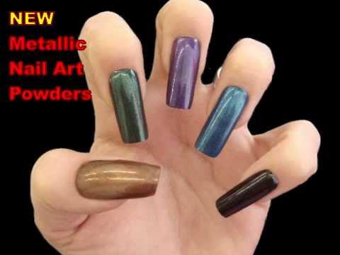 Metallic Nail Art Acrylic Powders - YouTube