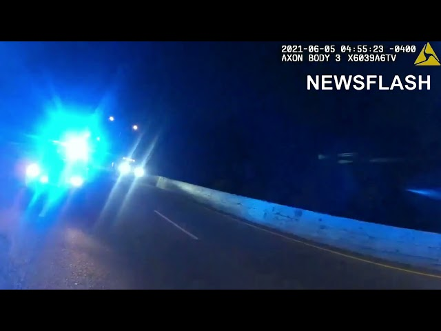 Incredible Moment Stationary Police Car Suddenly Smashes Into Cop Standing on Motorway