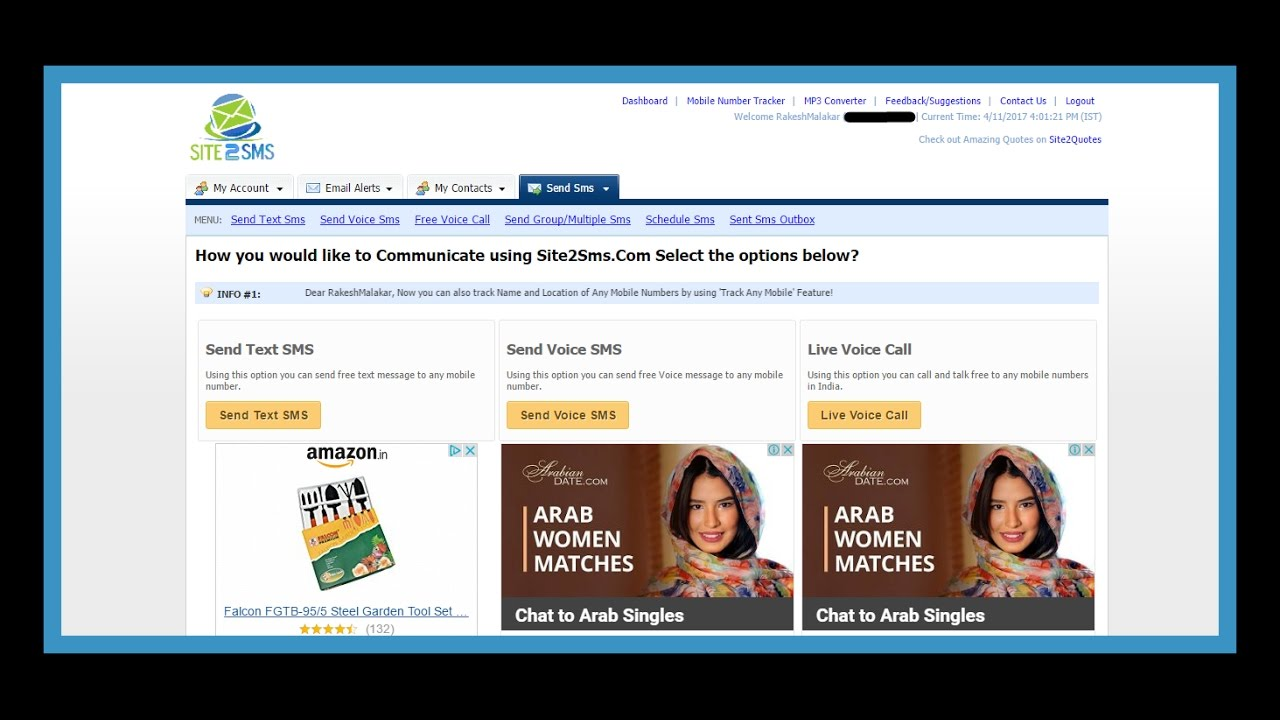 How To Create Free Sms Account (site2sms com)[Hindi]   ''with prop