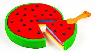 Learn Colors With Play Doh Watermelon Toy Clocks For Children Orbeez Fun