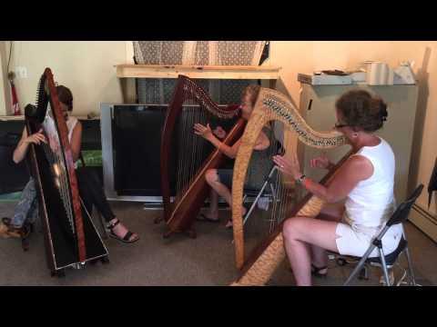 Women play the Irish harp at Catskill Irish Arts Festival 2015