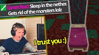 Kid Trolled by his chat to Sleep in the Nether... (Funniest Minecraft Fails & Wins Clips)