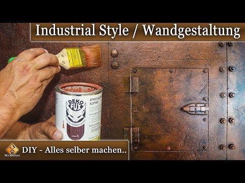 Dekorative Wandgestaltung einfach selber machen / Industrie Look - Metalloptik mit Deko Fux