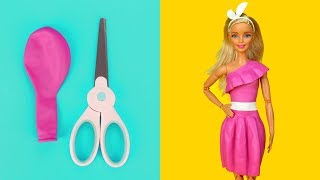 ???? DIY Barbie Dresses with Balloons Part 3 Making Easy No Sew Clothes for Barbies Creative for Kids