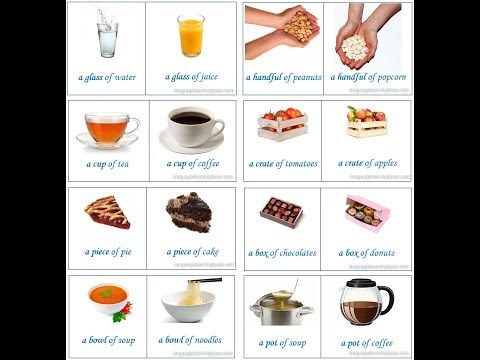 English Vocabulary - Food containers